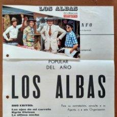 Fotos de Cantantes: CARTA Y POSTAL PRESENTACION GRUPO MUSICAL LOS ALBAS ESPECTACULOS TRIUNFO BARCELONA AÑOS 70. Lote 153823662