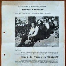 Fotos de Cantantes: CARTA PRESENTACION ELISEO DEL TORO Y SU CONJUNTO PRODUCCIONES ALFREDO SAAVEDRA BARCELONA AÑOS 70 . Lote 153945022