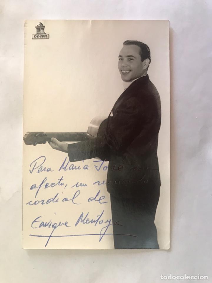 ENRIQUE MONTOYA. FOTOGRAFÍA DEDICADA. AUTOR: CANTOMAN? (H.1950?) (Música - Fotos y Postales de Cantantes)