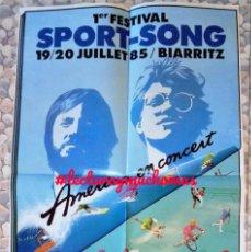 Fotos de Cantantes: AMERICA. CARTEL ORIGINAL CONCIERTO EN BIARRITZ EL 19/20 JULIO DE 1985.. Lote 155706302
