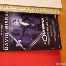 Fotos de Cantantes: DAVID BISBAL CONCIERTO SALA OLYMPIA PARÍS GIRA 2019 POSTAL CARTEL A DOBLE CARA . Lote 155714382