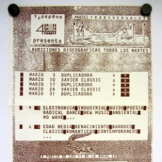 Fotos de Cantantes: 4 SELLOS PRESENTA: AUDICIONES DISCOGRÁFICAS EN LA SALA TRANSVERSAL (BARCELONA). CARTEL ORIGINAL (80S. Lote 155783110