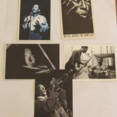 Photos de Chanteurs et Chanteuses: POSTALES JAZZ MILES DAVIS JOHN COLTRANE BILLIE HOLIDAY WES MONTGOMERY JAMES CLAY. Lote 156026318