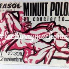 Fotos de Cantantes: MINUIT POLONIA. HISTÓRICO CARTEL ORIGINAL PROMOCIONAL CONCIERTO SALA MORASOL MOVIDA MADRILEÑA. 80S.. Lote 127882371