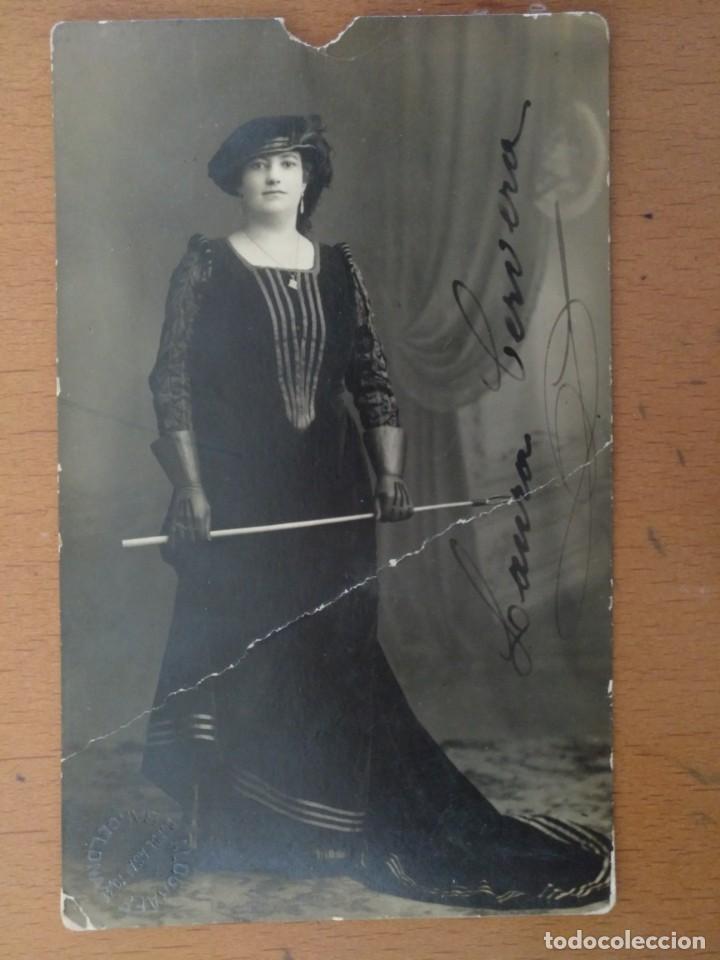 FOTO POSTAL FIRMADA LAURA CERVERA CANTANTE REINA MARGARITA OPERA -GLI UGONOTTI- 1918 (Música - Fotos y Postales de Cantantes)
