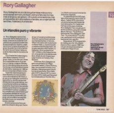 Fotos de Cantantes: HOJA REVISTA MUSICAL REPORTAJE RORY GALLAGHER. Lote 167731988