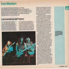 Fotos de Cantantes: HOJA REVISTA MUSICAL REPORTAJE IRON MAIDEN. Lote 167734736
