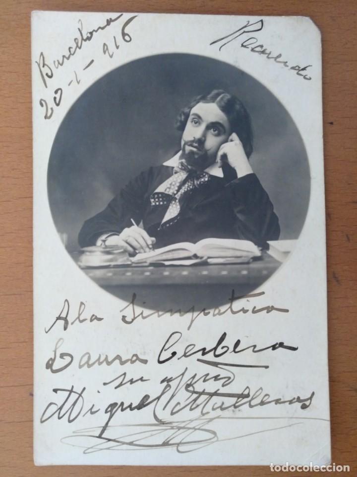 FOTO DEDICADA Y FIRMADA MIQUEL MULLERAS CANTANTE DE OPERA CARACTERIZADO BARCELONA 1916 (Música - Fotos y Postales de Cantantes)