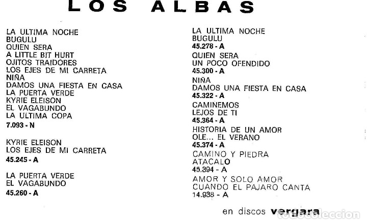 Fotos de Cantantes: FOTO-POSTAL DE LOS ALBAS AÑOS 60 - Foto 2 - 173846622