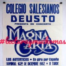 Fotos de Cantantes: MAGNA CARTA + LOS AUTÉNTICOS. CARTEL ORIGINAL PROMOCIONAL CONCIERTO EN 1982 (BILBAO) SALESIANOS DEUS. Lote 79136733