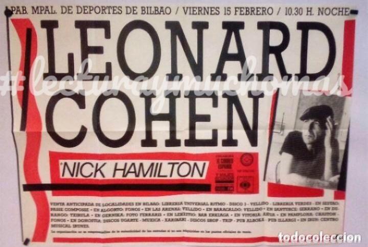 LEONARD COHEN. CARTEL ORIGINAL CONCIERTO PABELLÓN DEPORTES DE BILBAO EN 1985. (Música - Fotos y Postales de Cantantes)
