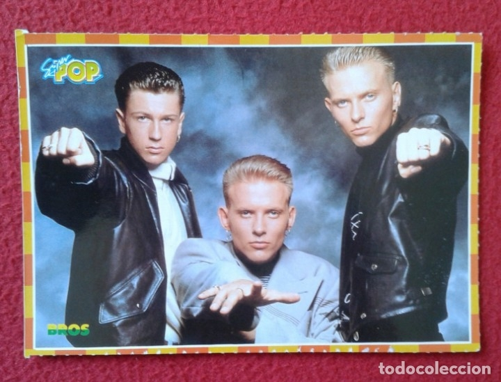 POSTAL POST CARD POSTCARD GRUPO MÚSICA BROS BROSS BROS-23 PÓSTER-POSTAL ADHESIVA STICKER SUPER POP (Música - Fotos y Postales de Cantantes)