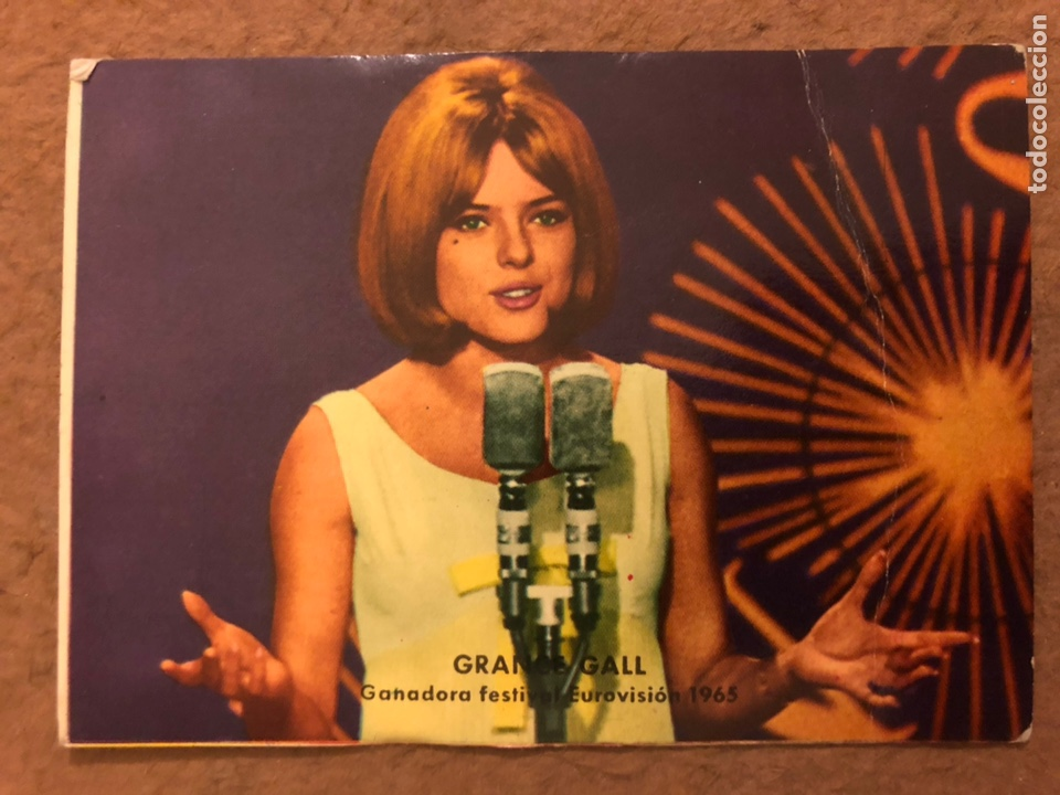 FRANCE GALL, GANADORA FESTIVAL EUROVISION 1965. TARJETA FOTO CROMO. 7,5 X 10,5 CMS. (Música - Fotos y Postales de Cantantes)