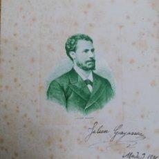 Fotos de Cantantes: JULIAN GAYARRE TENOR LITOGRAFÍA ORIGINAL FIRMADA. AUTOGRAFO DE 1886 . Lote 192346596