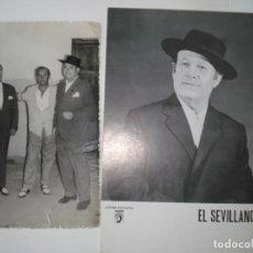 Fotos de Cantantes: DOS FOTOS DE ANTONIO EL SEVILLANO, UNA ES ORIGINAL AÑO 1964 Y LA OTRA ES DE LA CASA DISCOGRAFICA.. Lote 194896466