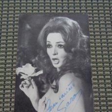 Fotos de Cantantes: SARA MONTIEL - FOTO FICHA DISCOGRÁFICA DE INTERPRO CON AUTÓGRAFO. Lote 195507276