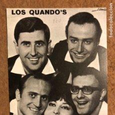 Fotos de Cantantes: LOS QUANDO'S - TARJETA PROMOCIONAL COLUMBIA, AÑOS 60S - DEDICADA POR LA BANDA.. Lote 122149831
