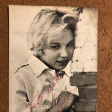 Fotos de Cantantes: KARINA. TARJETA PROMOCIONAL DISCOGRÁFICA HISPAVOX CON DEDICATORIA Y AUTÓGRAFO. Lote 198959251