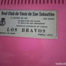 Fotos de Cantantes: LOS BRAVOS / REAL CLUB DE TENIS DE SAN SEBASTIAN / 27 AGOSTO 1967 / RECORTE PERIODICO DE EPOCA. Lote 203004737