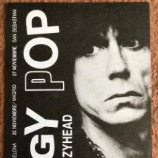 Fotos de Cantantes: IGGY POP + CRAZYHEAD. POSTAL CIRCULADA PROMOCIONAL GIRA ESPAÑOLA 1988.. Lote 203456200