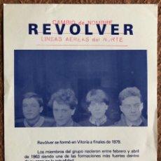 Photos de Chanteurs et Chanteuses: REVÓLVER. TARJETA PROMOCIONAL DEL GRUPO DE VITORIA. ÉPOCA DE LA MOVIDA. LÍNEAS AÉREAS DEL NORTE.. Lote 205462031