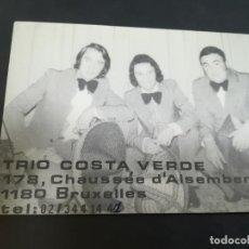 Photos de Chanteurs et Chanteuses: TARJETA DE PRESENTACION. IMAGEN DEL GRUPO MUSICAL TRIO COSTA, VERDE. Lote 209988915