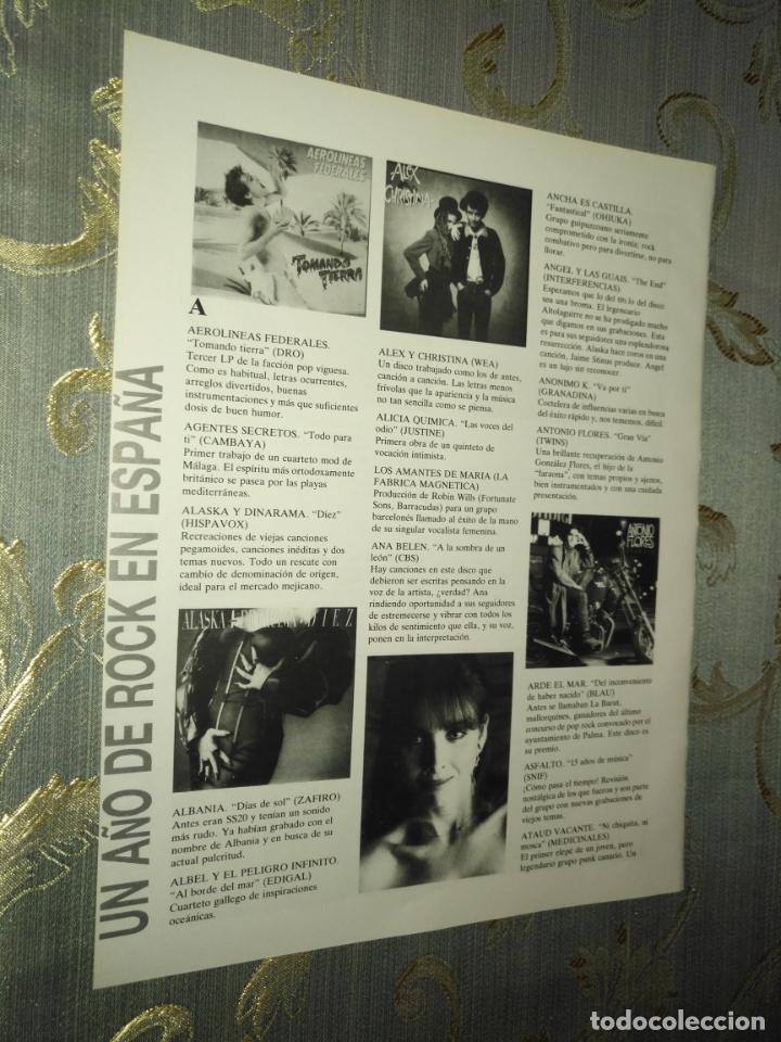 HOJA MUSICAL AÑOS 80S - ANTONIO FLORES, ANA BELEN, ALASKA Y DINARAMA, EEROLINEAS FEDERALES, ALEX (Música - Fotos y Postales de Cantantes)