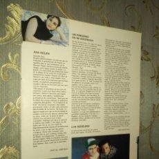 Fotos de Cantantes: HOJA MUSICAL AÑOS 80S - ANA BELEN , UN PINGUINO EN MI ASCENSOR, LOS REBELDES. Lote 212867812