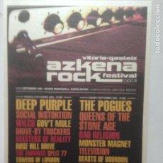 Fotos de Cantantes: POSTAL ARF AZKENA ROCK FESTIVAL 2005 DEEP PURPLE - POGUES - SOCIAL DISTORTION -BAD RELIGION-POSTCARD. Lote 214134032