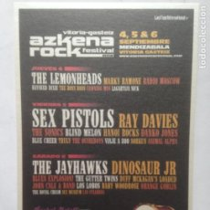 Fotos de Cantantes: POSTAL ARF AZKENA ROCK FESTIVAL 2008 SEX PISTOLS -LEMONHEADS -RAY DAVIES -DINOSAUR JR POSTCARD. Lote 214134495