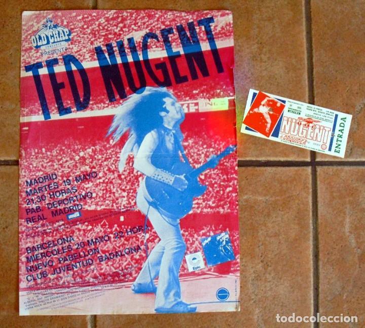 TED NUGENT: POSTER DE CONCIERTO ANTIGUO VINTAGE MADRID Y BARCELONA - ENTRADA DE REGALO EN LA OFERTA (Música - Fotos y Postales de Cantantes)