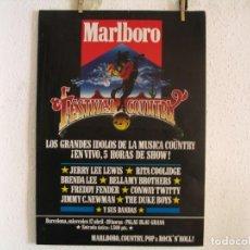 Foto di Cantanti: MARLBORO FESTIVAL COUNTRY JERRY LEE LEWIS CARTEL ORIGINAL 1985 BARCELONA 67X48 + BANDA. Lote 218909521
