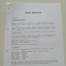 Fotos de Cantantes: MARK KNOPLER - HOJAS PROMOCIONALES DE PRENSA 1993 // 3 PAG. SCREENPLAYING DIRE STRAITS. Lote 222170591