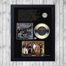 Fotos de Cantantes: BON JOVI SLIPPERY WHEN WET CUADRO CON GOLD/PLATINUM CD EDICION LIMITADA. FRAMED. Lote 277443558