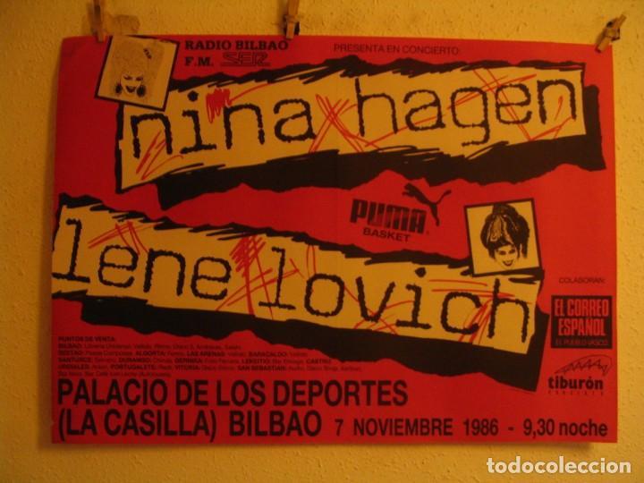 NINA HAGEN & LENE LOVICH CARTEL ORIGINAL BILBAO GIRA 1986 TOUR 62X87 (Música - Fotos y Postales de Cantantes)