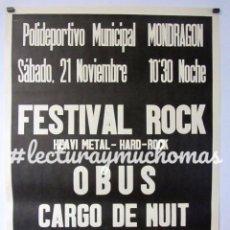 Fotos de Cantantes: OBUS + U.M.O.. HISTÓRICO CARTEL ORIGINAL CONCIERTO FRONTÓN DE BERGARA (PRINCIPO AÑOS 80).. Lote 234311575