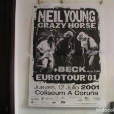 Fotos de Cantantes: NEIL YOUNG CRAZY HORSE + BECK CARTEL ORIGINAL 2001 CORUÑA GIRA TOUR 130X90. Lote 235503490