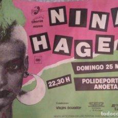 Fotos de Cantantes: MÍTICOS DE LOS 80'S. CARTEL CONCIERTO NINA HAGEN S. SEBASTIÁN 1984. Lote 245026970