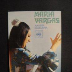 Fotos de Cantantes: MARIA VARGAS - TARJETA PROMOCIONAL DISCOS CBS. Lote 277680778