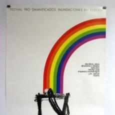 Fotos de Cantantes: PRECIOSO CARTEL CONCIERTO INUNDACIONES EUSKADI 1983. MECANO, ALASKA Y DINARAMA, SERRAT, TRIANA.. Lote 284565468