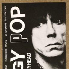 Fotos de Cantantes: IGGY POP + CRAZYHEAD. POSTAL SIN CIRCULAR PROMOCIONAL GIRA ESPAÑOLA 1988.. Lote 290943578