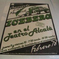 Fotos de Cantantes: ICEBERG CARTEL ORIGINAL GIRA TOUR 1978 MADRID 69X49. Lote 293919548
