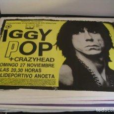 Fotos de Cantantes: IGGY POP + CRAZYHEAD CARTEL ORIGINAL SAN SEBASTIAN 1988 GIRA TOUR 65X90. Lote 293920263