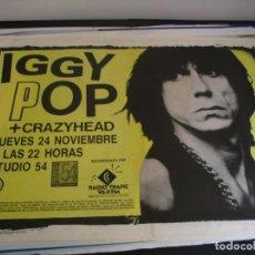 Fotos de Cantantes: IGGY POP + CRAZYHEAD CARTEL ORIGINAL BARCELONA 1988 GIRA TOUR 65X90. Lote 293920478