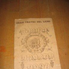 Libretos de ópera: 1897 LICEU ANTIGUO PROGRAMA DE MANO DEL CINCUENTENARIO DEL GRAN TEATRO DEL LICEO DE BARCELONA. Lote 22382011