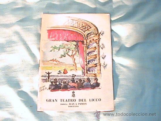 PROGRAMA DE MANO DEL GRAN TEATRO DEL LICEO, TEMPORADA DE ÓPERA, INVIERNO 1961-1962 (Música - Libretos de Opera)