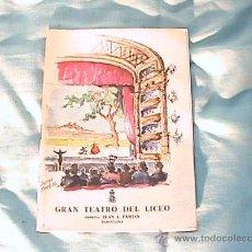 Libretos de ópera: PROGRAMA DE MANO DEL GRAN TEATRO DEL LICEO, TEMPORADA DE ÓPERA, INVIERNO 1961-1962. Lote 25511763