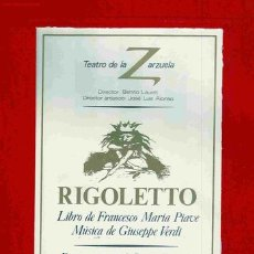 Libretos de ópera: RIGOLETTO. LIBRETO DE OPERA. TEATRO DE LA ZARZUELA (1983). MÚSICA. MAS LIBRETOS. Lote 27484578