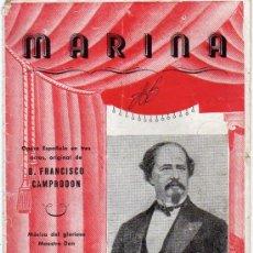 Libretos de ópera: MARINA OPERA DEL MAESTRO ARRIETA. Lote 12772292
