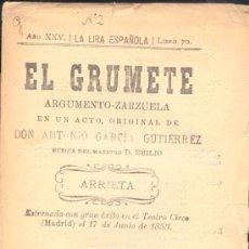 Libretos de ópera: LIBRETO CON ARGEMENTO-ZARZUELA EN UN ACTO DE LA OBRA .-EL GRUMETE.-. Lote 16668308